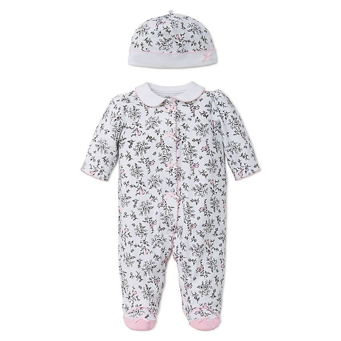 Alternate image 1 for Little Me® Preemie 2-Piece Bird Toile Footie and Hat Set in Black/White