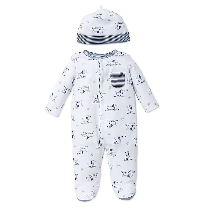 Alternate image 1 for Little Me® Preemie 2-Piece Puppy Toile Footie and Hat Set in White/Blue
