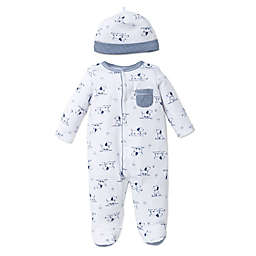 Little Me® Preemie 2-Piece Puppy Toile Footie and Hat Set in White/Blue