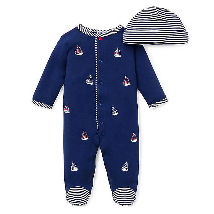 Alternate image 1 for Little Me® Preemie 2-Piece Sailboats Footie and Hat Set