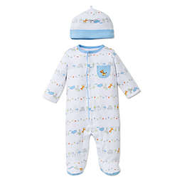 Little Me® Preemie 2-Piece Fun Safari Footie and Hat Set in White/Blue