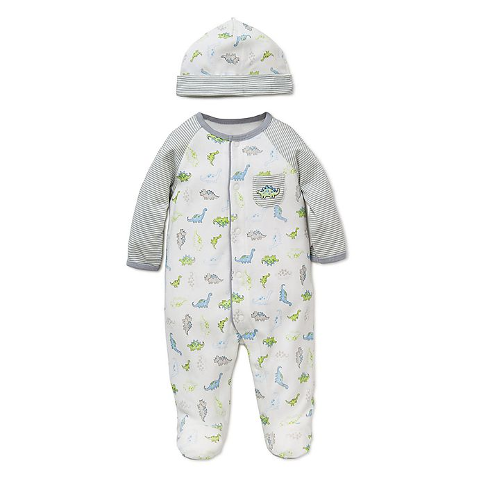 Alternate image 1 for Little Me® Preemie 2-Piece Tiny Dinos Footie and Hat Set