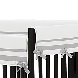 Sweet Jojo Designs Hotel Collection Long Crib Rail Guard Covers in White/Grey