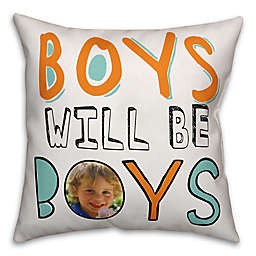 "Designs Direct ""Boys Will Be Boys"" Children's Pillow in Orange/Blue"
