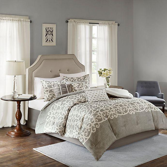 Alternate image 1 for Madison Park Cortana 7-Piece Queen Comforter Set in Grey