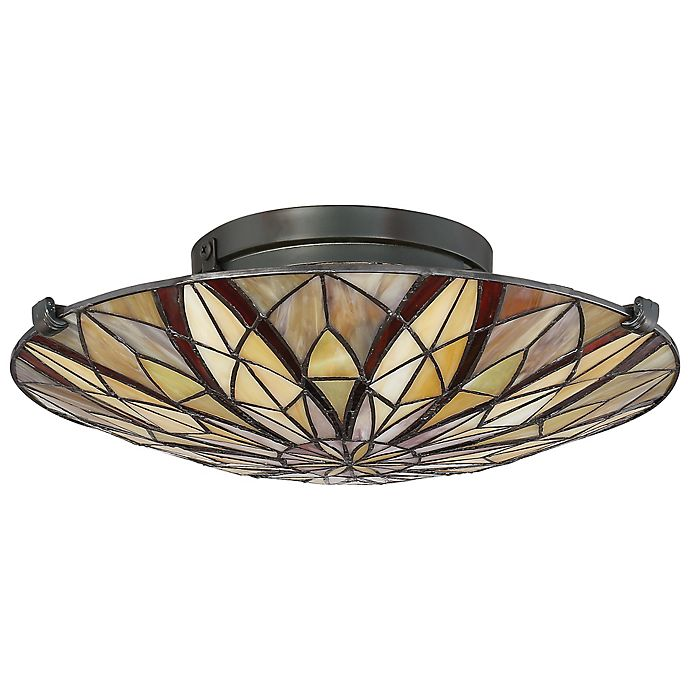 Alternate image 1 for Quoizel® Tiffany Collection Victory Floating Flush Mount Light Fixture in Bronze