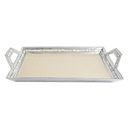 Julia Knight® Classic 21-Inch Beveled Tray with Handles in Snow