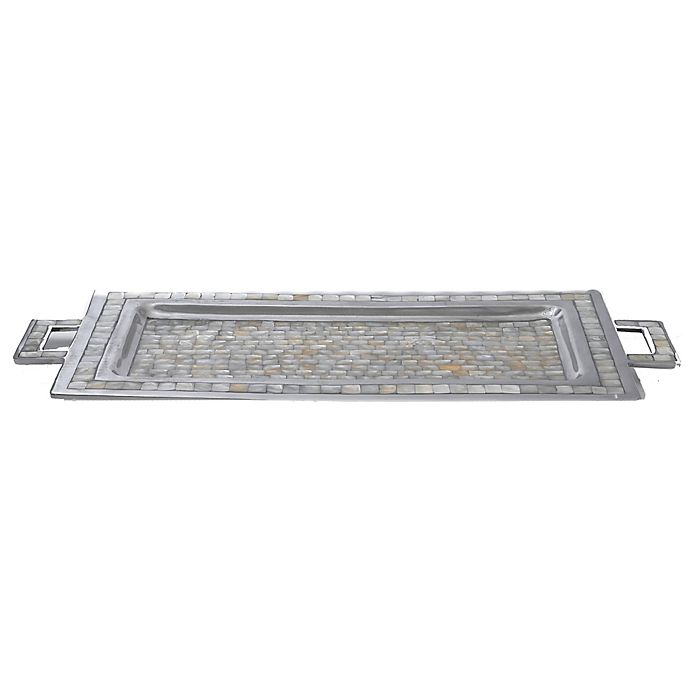 Alternate image 1 for Julia Knight® Classic 25-Inch Rectangular Tray with Handles in Mother of Pearl