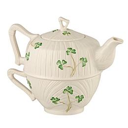 Belleek Harp Shamrock Tea for One Tea Set in White/Green