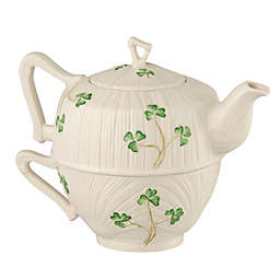 Belleek Harp Shamrock Tea for One Tea Set in White/Green