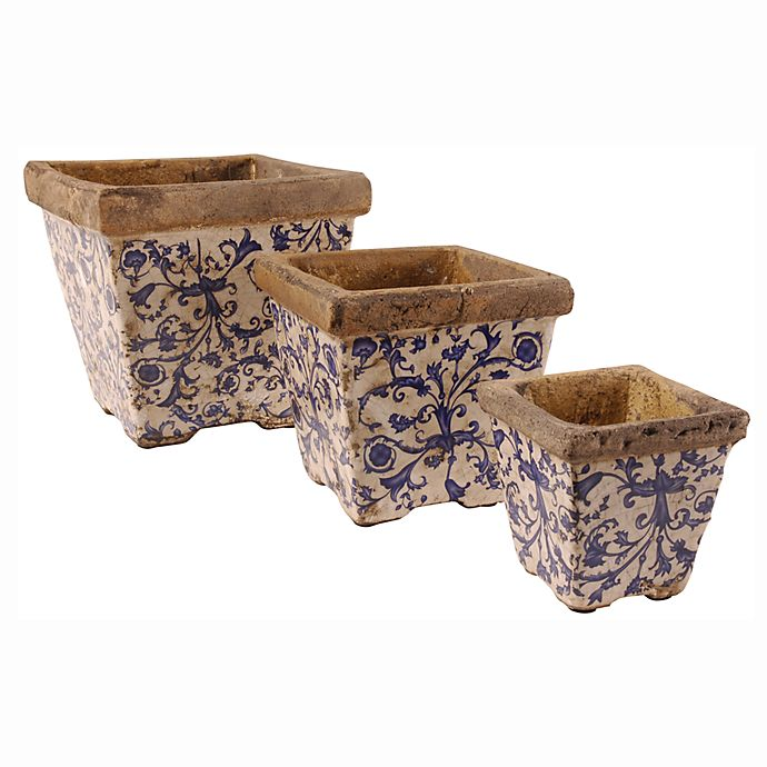 Ceramic Square Flower Pots Set Of 3 Bed Bath Beyond