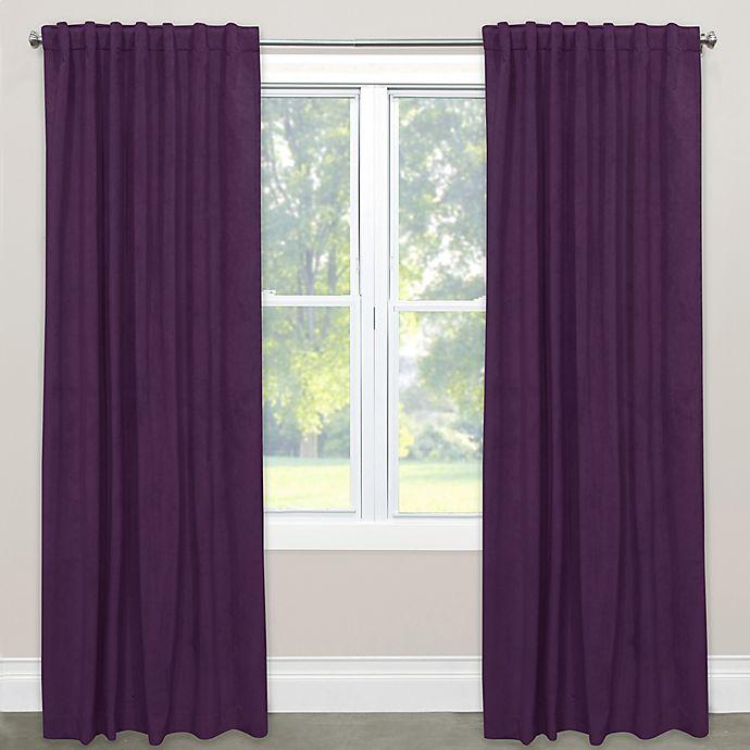 Alternate image 1 for Skyline Velvet 84-Inch Rod Pocket/Back Tab Window Curtain Panel in Purple