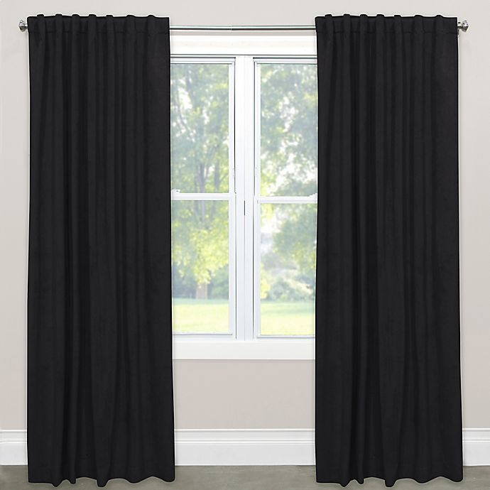 Alternate image 1 for Skyline Room Darkening Velvet 63-Inch Rod Pocket/Back Tab Window Curtain Panel in Black