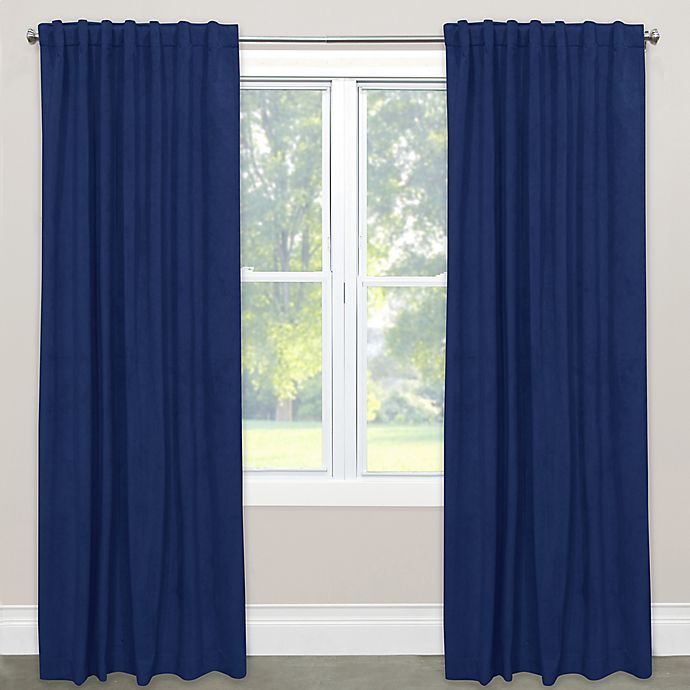Alternate image 1 for Skyline Velvet 63-Inch Rod Pocket/Back Tab Window Curtain Panel in Navy