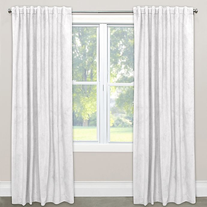 Alternate image 1 for Skyline Velvet 120-Inch Rod Pocket/Back Tab Window Curtain Panel in White