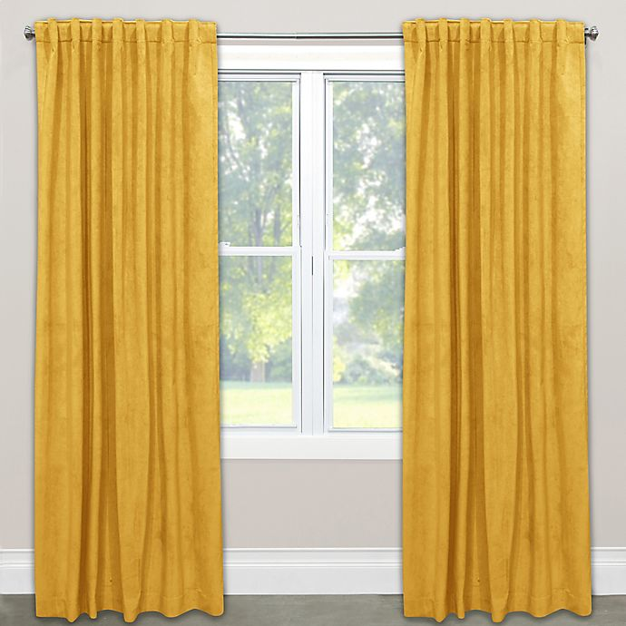 Alternate image 1 for Skyline Velvet 96-Inch Rod Pocket/Back Tab Window Curtain Panel in Yellow