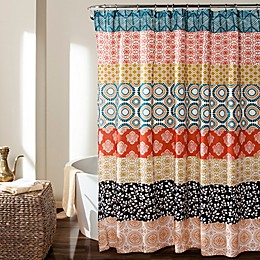Bohemian Stripe Shower Curtain in Turquoise/Orange