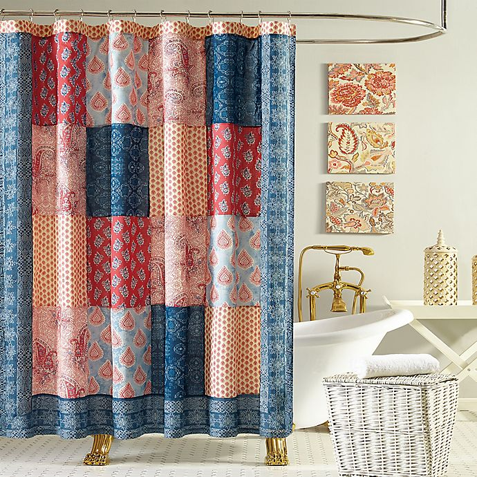 Alternate image 1 for Jessica Simpson Grace Shower Curtain in Blue/Orange