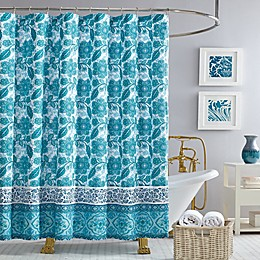 Jessica Simpson Aqua Flora Shower Curtain in Blue