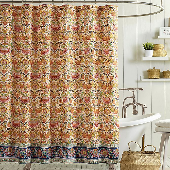 Alternate image 1 for Jessica Simpson Provincial Shower Curtain in Orange
