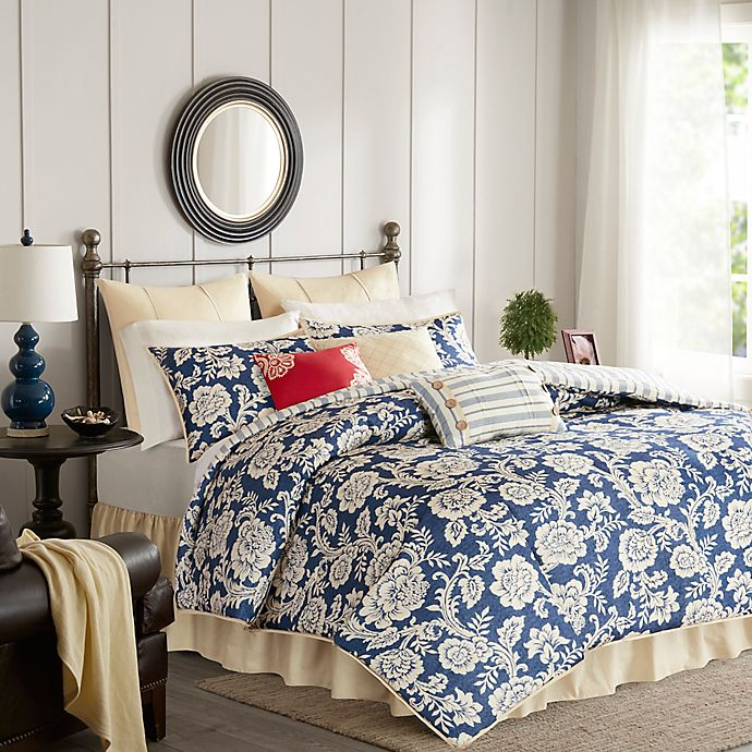 Alternate image 1 for Madison Park Lucy Queen Duvet Cover Set in Navy