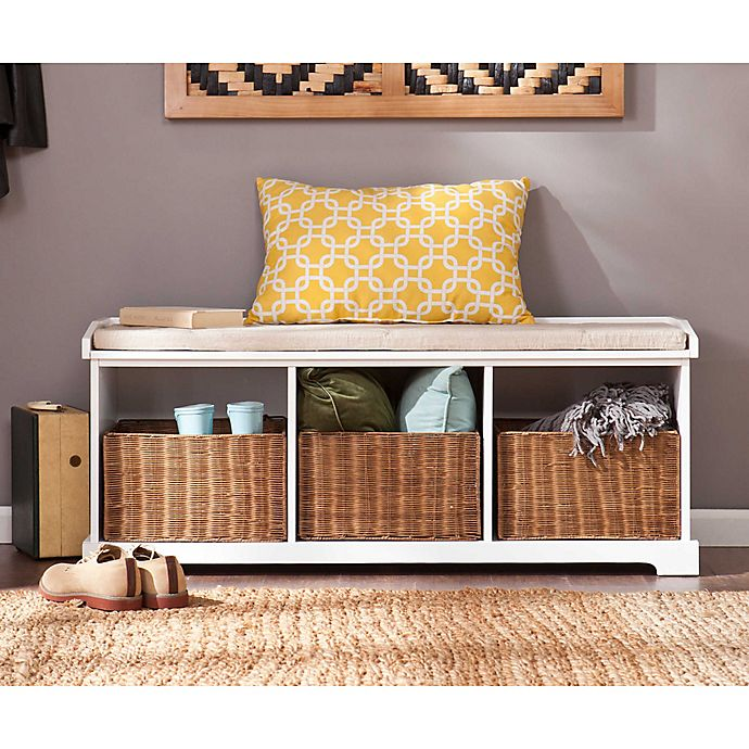 Astonishing Southern Enterprises Loring Entryway Storage Bench In White Uwap Interior Chair Design Uwaporg