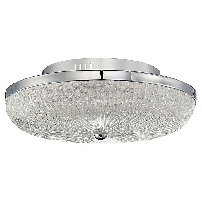 Quoizel Moon Rays 1 Light Flush Mount Ceiling Fixture In Polished Chrome Bed Bath Amp Beyond