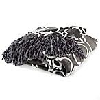 Orleans Printed Plush Throw Blanket in Grey