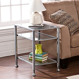 Southern Enterprises Metal/Glass End Table in Silver
