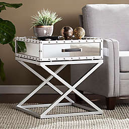 Southern Enterprises Lazio Industrial Mirrored End Table in Silver