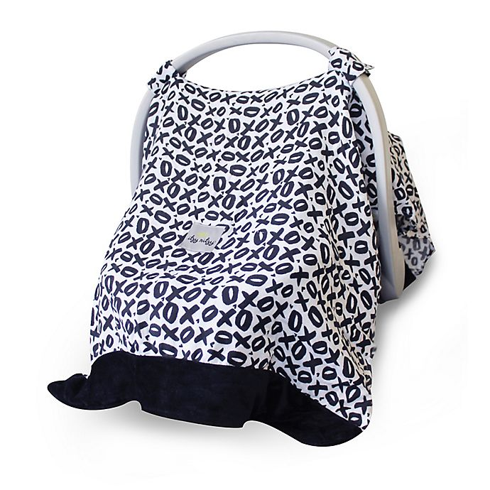 Alternate image 1 for Itzy Ritzy® Cozy Happens™ Infant Car Seat Canopy and Tummy Time Mat in XOXO Black/White
