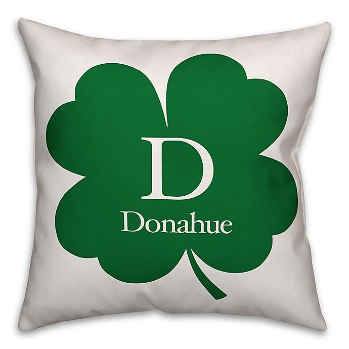 Alternate image 1 for Designs Direct St. Patrick's Day Collection Family Clover Square Throw Pillow in Green