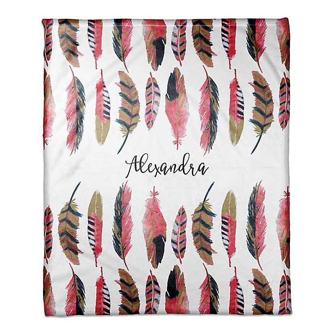 Alternate image 1 for Designs Direct Boho Collection Wild Feather Throw Blanket in Pink