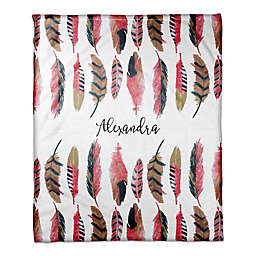 Designs Direct Boho Collection Wild Feather Throw Blanket in Pink