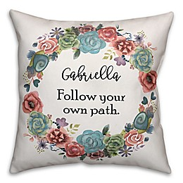 Designs Direct Boho Collection Floral Wreath Square Throw Pillow in Blue