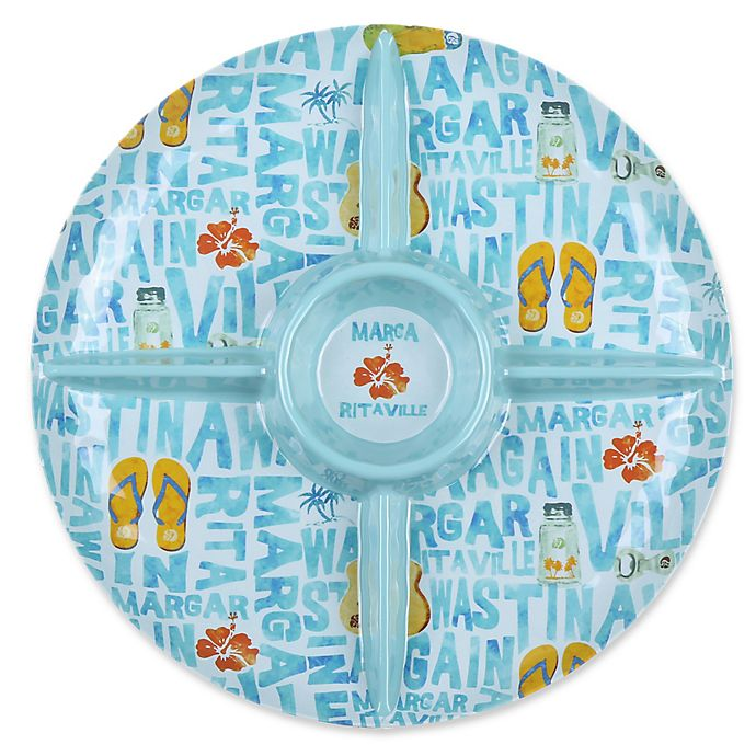 Alternate image 1 for Margaritaville® Icon Round Chip and Dip in Blue