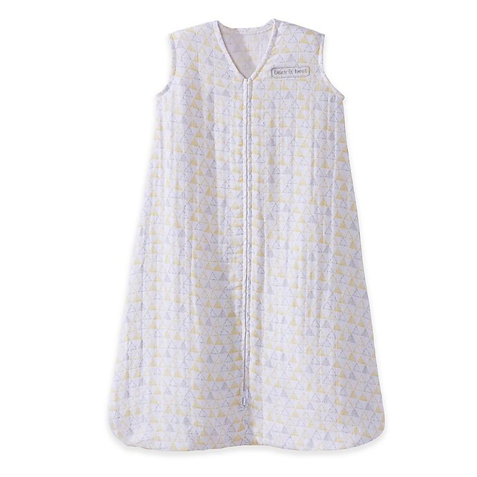 Alternate image 1 for HALO® SleepSack® Medium Triangle Cotton Muslin Wearable Blanket in Grey/Yellow