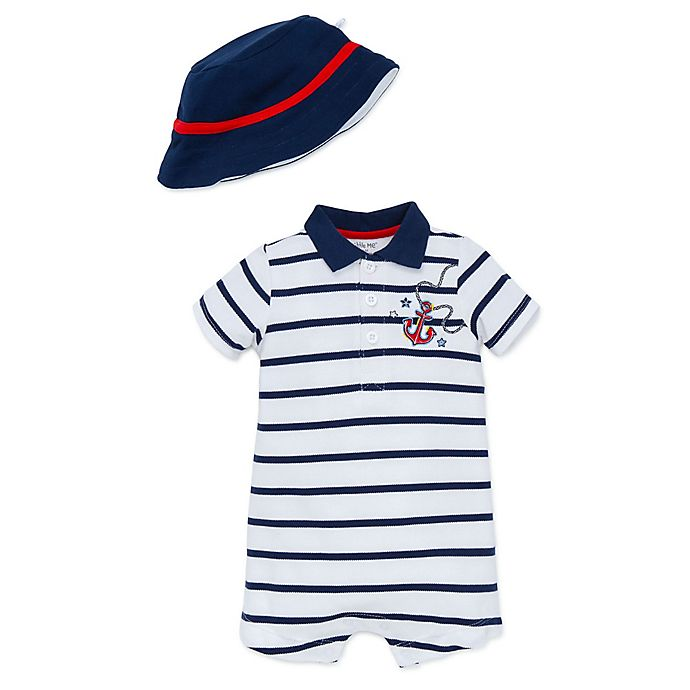 c40379c367b5e Little Me® 2-Piece Nautical Polo Romper and Bucket Hat Set