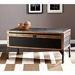 Southern Enterprises Drifton Trunk Cocktail Table in Antique Black