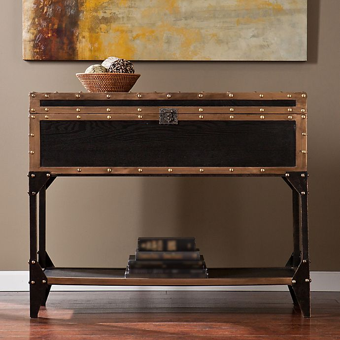 Alternate image 1 for Southern Enterprises Drifton Trunk Console Table in Antique Black