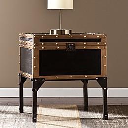 Southern Enterprises Drifton Trunk End Table in Antique Black