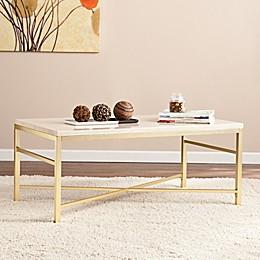 Southern Enterprises Orinda Cocktail Table in Matte Brass