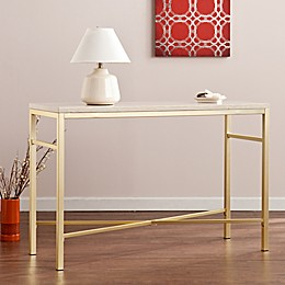 Southern Enterprises Orinda Console Table in Matte Brass