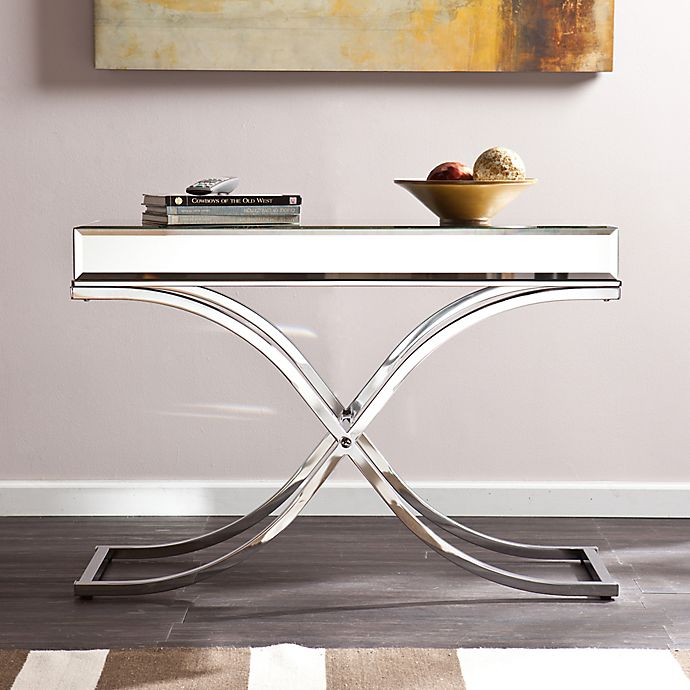 Ava Mirrored Console Table In Chrome