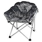 Folding Faux Fur Club Chair in Grey
