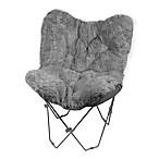 Faux Fur Butterfly Chair in Grey