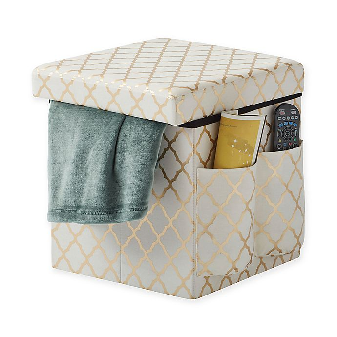 Alternate image 1 for Sit & Store Folding Storage Ottoman in Gold