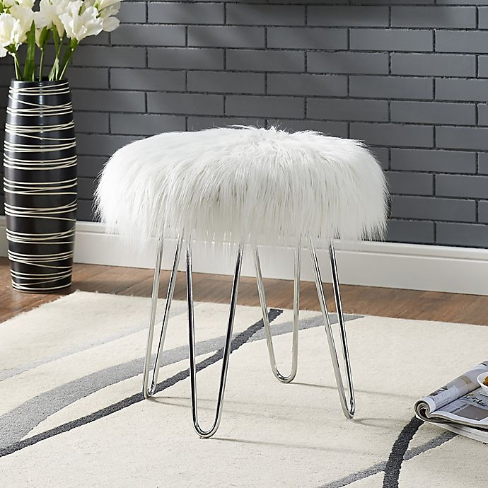 Alternate image 1 for Faux Fur Ottoman in White