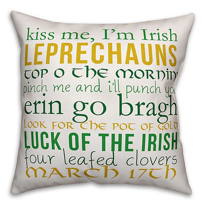 Alternate image 1 for Designs Direct St. Patrick's Lucky Lingo Throw Pillow