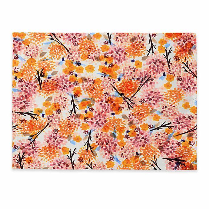 Alternate image 1 for Deny Designs Floral Forest Placemat in Orange (Set of 4)